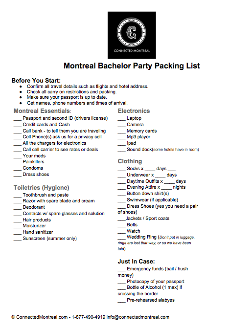packing list for a trip